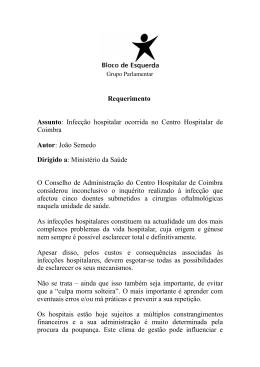 Infecção hospitalar ocorrida no Centro Hospitalar de Coimbra Autor