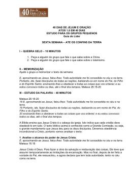 40 DIAS DE JEJUM E ORAÇÃO ATOS 1.8 EM 40 DIAS ESTUDO