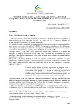 2300 PERCURSO ESCOLAR DOS ALUNOS DE CLASSE