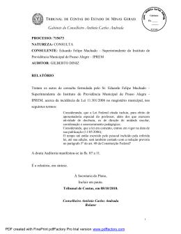 Consulta nº 715673 - Conselheiro Antônio Carlos Andrada