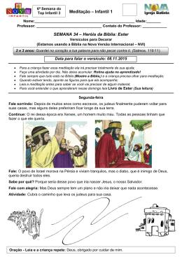 Meditação – Infantil 1 SEMANA 34 – Heróis da Bíblia: Ester