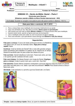 Meditação – Infantil 1 SEMANA 33 – Heróis da Bíblia: Daniel – Parte 2