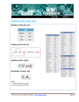 FORMULAÇÃO DOS SAIS - Portal de Estudos em Química