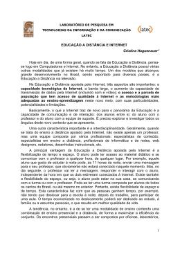 1 EDUCAÇÃO A DISTÂNCIA E INTERNET Cristina - Latec-UFRJ