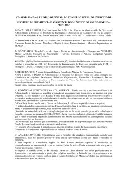 Conselho Fiscal - Prefeitura do Rio de Janeiro