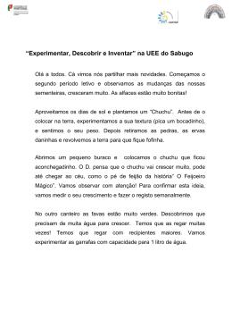 """""""Experimentar, Descobrir e Inventar"""" na UEE do Sabugo"""