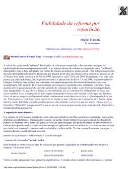 Viabilidade da reforma por reparticão - Hussonet