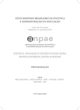 27 SIMPÓSIO BRASILEIRO DE POLÍTICA E