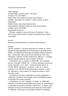 Tribunal de Contas da União Dados Materiais: Acórdão 308/95