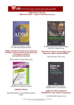 Agosto a Setembro de 2013 - Instituto dos Advogados Brasileiros