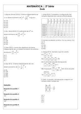 Lista de Binômio de Newton