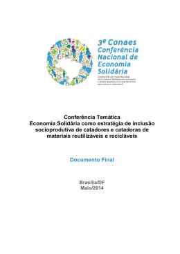 Conferência Temática Economia Solidária como