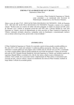 EMENDA Nº 83 AO PROJETO DE LEI Nº 283/2015 Deputado(a