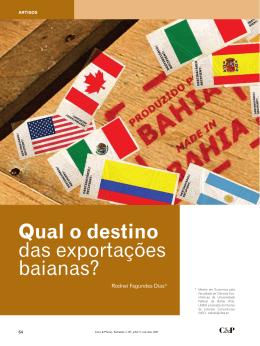 Qual o destino das exportações baianas - NEC