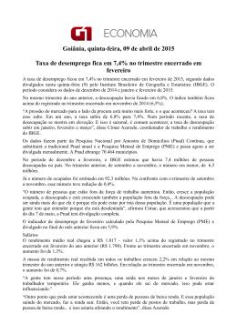 Goiânia, quinta-feira, 09 de abril de 2015 Taxa de