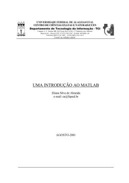 UMA INTRODUÇÃO AO MATLAB - Universidade Federal de Alagoas