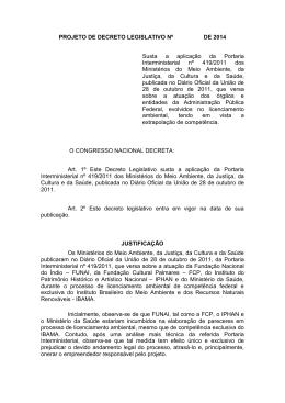 PROJETO DE DECRETO LEGISLATIVO Nº DE 2014 Susta a