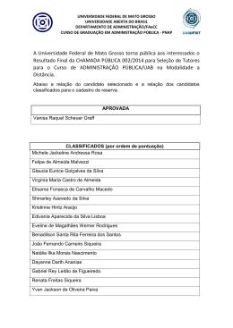 chamada pública 002/2014 - aprovados e lista de cadastro