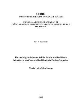 Fluxos Migratórios no Sul da Bahia: da Realidade Identitária do