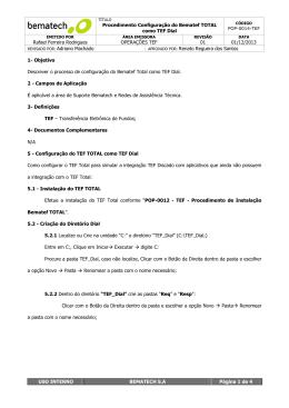 Procedimento Configuração do Bematef TOTAL como TEF Dial