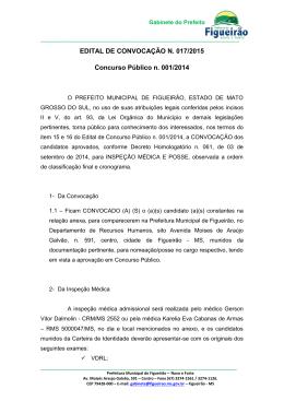 EDITAL DE CONVOCAÇÃO N. 017/2015 Concurso Público n. 001
