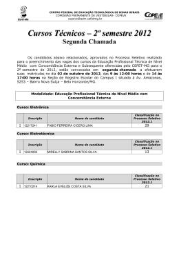 Cursos Técnicos – 2º semestre 2012 Segunda - Copeve - Cefet-MG