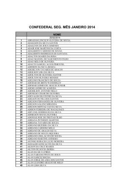 CONFEDERAL SEG. MÊS JANEIRO 2014