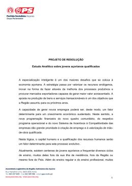 Proposta Grupo Parlamentar do PS/Açores propõe estudo para