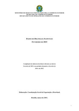 Dados drawback - Ministério do Desenvolvimento, Indústria e