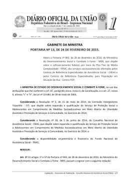 gabinete da ministra portaria nº 13, de 24 de fevereiro de 2015.