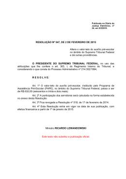 RESOLUÇÃO Nº 547, DE 2 DE FEVEREIRO DE 2015 Altera o valor