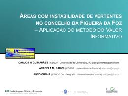 Áreas com instabilidade de vertentes no concelho da Figueira da Foz
