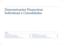 Demonstrações Financeiras Individuais e Consolidadas