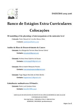 Banco de Estágios Extra Curriculares Colocações