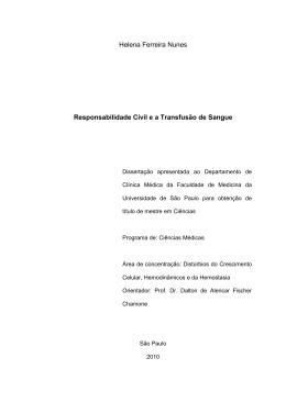 Helena Ferreira Nunes Responsabilidade Civil e a Transfusão de