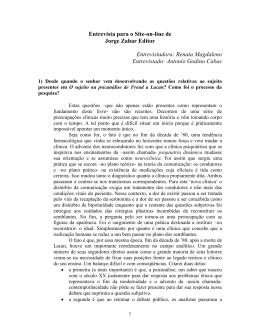 Entrevista para o Site-on-line de Jorge Zahar Editor