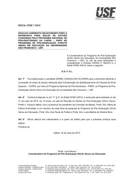EDITAL CPSE 07-2015 - Classificado para Entrevista para bolsa