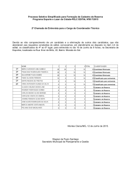 (2ª Chamada para entrevista) - Prefeitura de Montes Claros-MG