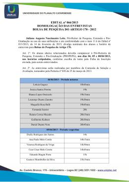 Edital n066 - 13 - Divulga nominata dos alunos e horrio de