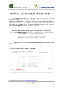 homologação de códigos de recolhimento