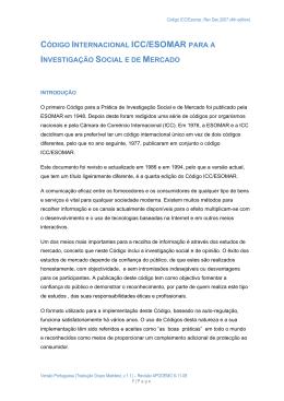 CÓDIGO INTERNACIONAL ICC/ESOMAR PARA A