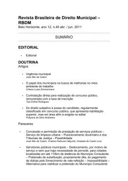 Revista Brasileira de Direito Municipal – RBDM
