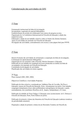 Calendarização das actividades do GFE 1ª Fase 2ª Fase 3ª Fase