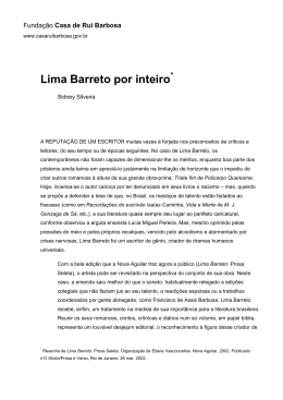 Lima Barreto por inteiro - Fundação Casa de Rui Barbosa