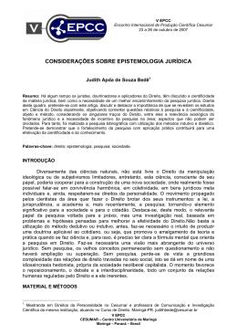 CONSIDERAÇÕES SOBRE EPISTEMOLOGIA JURÍDICA