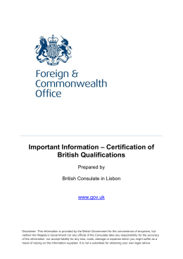 Important Information – Certification of British Qualifications