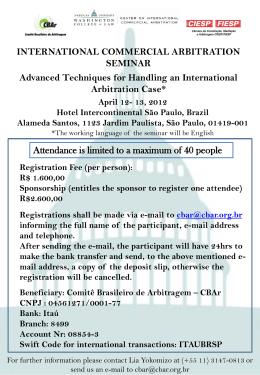 INTERNATIONAL COMMERCIAL ARBITRATION SEMINAR