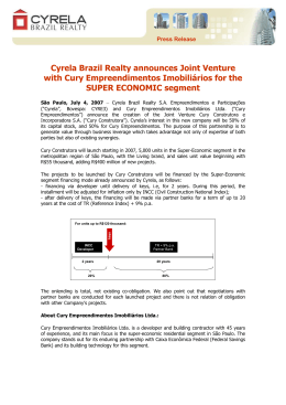 Cyrela Brazil Realty announces Joint Venture with Cury