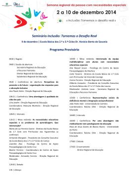 Programa provisório - Secretaria Regional Educação Recursos