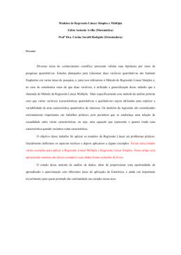 Modelos de Regressão Linear Simples e Múltipla Fabio Antonio